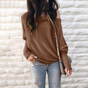 Long Sleeve Loose Printed One-shoulder Knit Shirt (Color:Brown Size:XL)