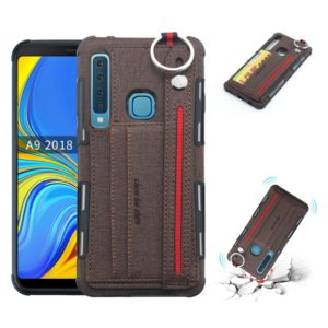 For Galaxy A9 (2018) / A9s Cloth Texture + TPU Shockproof Protective Case with Metal Ring & Holder & Card Slots & Hanging Strap(Coffee)