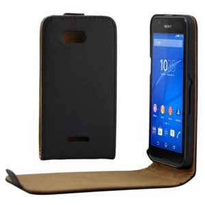 Vertical Flip Magnetic Button Leather Case for Sony Xperia E4g(Black)