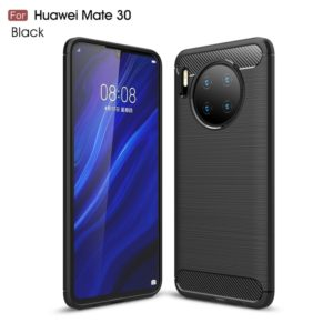 Brushed Texture Carbon Fiber TPU Case for Huawei Mate 30(Black)