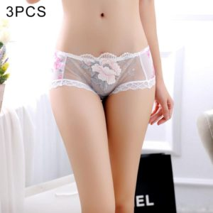 3 PCS FunAdd Women Sexy Enticing Low-waisted Transparent Underwear Hollow Lace Embroidery Triangle Panties, Free Size(White) (FunAdd)