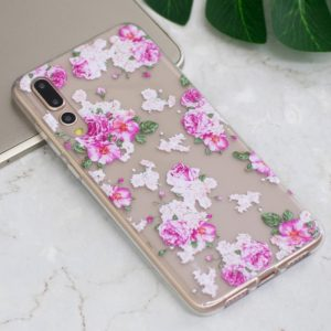 For Huawei P20 Pro Peony Flower Pattern Oil Embossed Soft TPU Protective Back Case