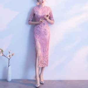 Dignified Atmosphere Improved Cheongsam Dress, Size:XXXL(Pink)