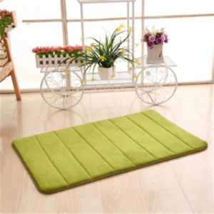 2 PCS Non Slip Water Absorption Rug Bathroom Mat Shaggy Memory Foam Kitchen Door Floor Mat, Size:40x60cm(Green)