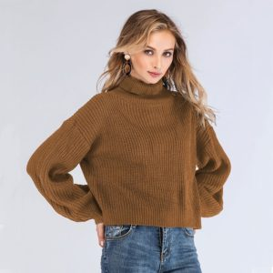 High Collar Long Sleeve Solid Color Lantern Sweater (Color:Brown Size:One Size)