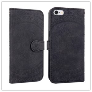 For iPhone SE 2020 & 8 & 7 Pressed Printing Pattern Horizontal Flip PU Leather Case , with Holder & Card Slots & Wallet & & Lanyard(Black)