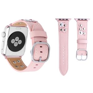 For Apple Watch Series 3 & 2 & 1 42mm Fashion Occident Style Flowers Genuine Leather Wrist Watch Band(Pink)