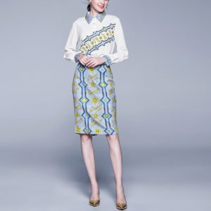 Fashion Printed Skirt Slim Collar Shirt + Skirt Suit (Color:White Size:L)