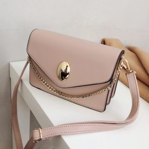 Oval Buckle PU Leather Single Shoulder Bag Ladies Handbag Messenger Bag (Apricot)