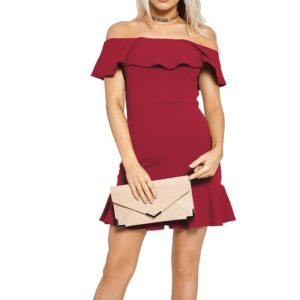 Solid Color Collar Strapless Flounced Dress (Color:Wine Red Size:L)