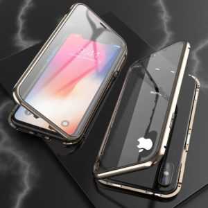 For iPhone XS Max Ultra Slim Double Sides Magnetic Adsorption Angular Frame Tempered Glass Magnet Flip Case(Bronze)