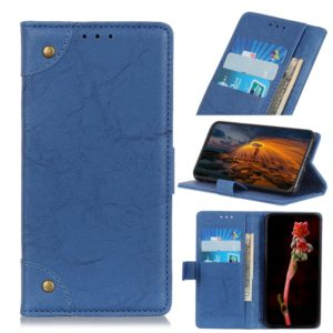 For Xiaomi Redmi Note 8 Pro Copper Buckle Retro Crazy Horse Texture Horizontal Flip Leather Case with Holder & Card Slots & Wallet(Blue)