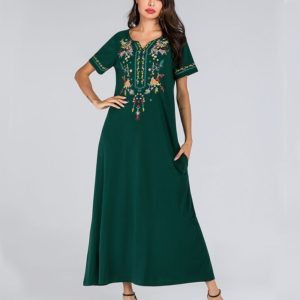 Long Embroidered Dress (Color:Green Size:XXL)