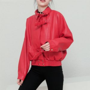 Women Casual Slim Collar Leather Motorcycle Jacket (Color:Red Size:M)