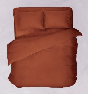 Πανωσέντονο Μονό Basic Solid Terracotta Polycotton Viopros (160x260) 1Τεμ