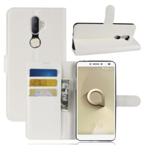 Litchi Texture Horizontal Flip Leather Case for Alcatel 3V, with Wallet & Holder & Card Slots (White)