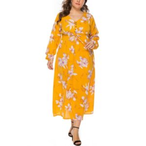 Waist Buttoned Large Size Dress (Color:Yellow Size:XXXL)