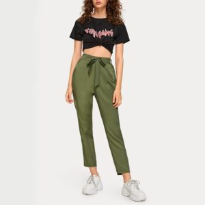 Wood Ear Elastic Waist Straight Jeans (Color:Army Green Size:M)