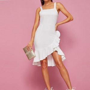 Irregular Lotus Leaf Hem Strap Dress (Color:White Size:L)
