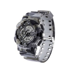 SANDA 5318 LED Luminous Display & Stopwatch & Alarm & Date and Week Function Men Quartz + Digital Dual Movement Watch with Plastic Band (Camouflage Gray) (SANDA)