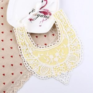 Cotton Lace Female Baby Bib Princess Bib Saliva Towel 360 Degree Rotation Child Fake Collar Decoration, Color:Mesh Lace Yellow