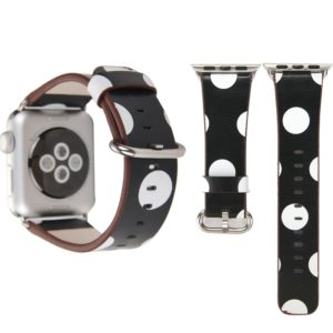For Apple Watch Series 3 & 2 & 1 42mm Black Background White Dot Pattern PU Leather Wrist Watch Band