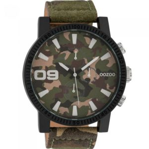 OOZOO TIMEPIECES XXL Unisex 50mm Army Leather Strap C10066 - C10066 C10066