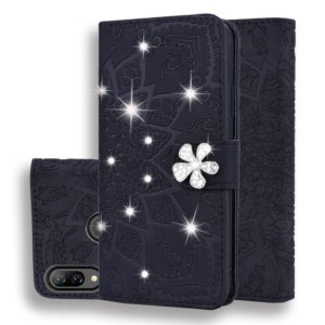 For Huawei P Smart+ 2019 / nova 3i Calf Pattern Diamond Mandala Double Folding Design Embossed Leather Case with Wallet & Holder & Card Slots(Black)