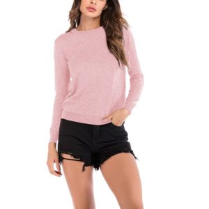 Autumn and Winter Solid Color Long-sleeved Pullover Sweater (Color:Pink Size:XL)