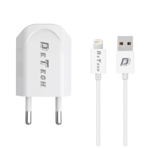Network charger, DeTech, DE-11i, 5V/1A 220A, Universal, 1 x USB, With Lightning cable, 1.0m, White - 14116