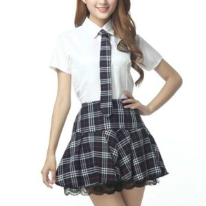 Short Sleeves School Uniform Girl Sailor Dress Plaid Skirt, Size:XL(Grey)