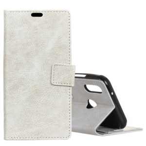 Retro Crazy Horse Texture Horizontal Flip Leather Case for Huawei Y7 (2019), with Holder & Card Slots & Photo Frame (White)