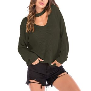 Solid Color Long-sleeved Pullover Sweater (Color:Dark Green Size:M)