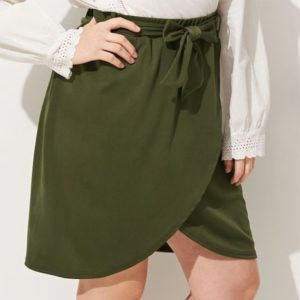 Women Large Size Skirt (Color:Army Green Size:L)