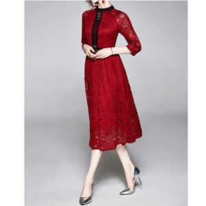 Lace Splice Big Swing Dress (Color:Red Size:M)