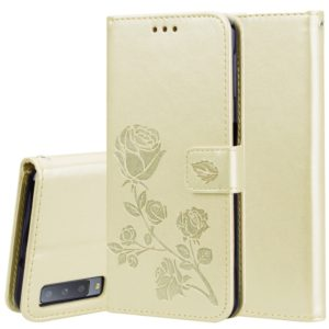 Rose Embossed Horizontal Flip PU Leather Case for Samsung Galaxy A7 (2018) , with Holder & Card Slots & Wallet (Gold)