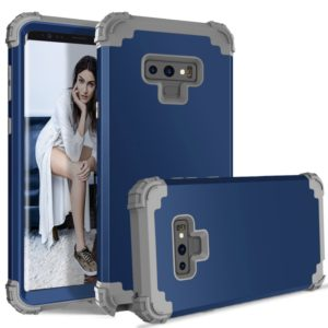 Shockproof 3 in 1 No Gap in the Middle Silicone + PC Case for Galaxy Note9 (Navy Blue)