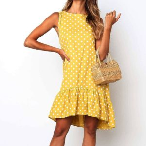 Printing flounced Dot Pattern Dress (Color:Yellow Size:M)
