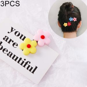 3 PCS Fashion Flower Hair Clips Girls Sweet Headwear(Yellow Pink)