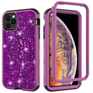 For iPhone 11 Pro Max 3 in 1 Glitter Solid Color TPU + PC Shockproof Case(Dark Purple)