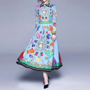 Letters Perfume Bottles Printed Long-sleeved Big Swing Dress (Color:Blue Size:M)