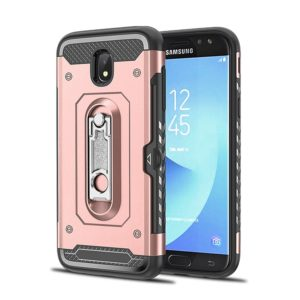 Shockproof PC + TPU Case for Galaxy J5 (2017) / J530 (EU Version), with Holder(Rosegold)