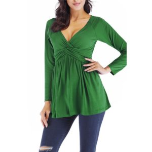 Pleated Loose Long Sleeved T-shirt Shirt, Size: S(Green)