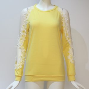 Round Neck Hollow Strapless Lace Stitching Long-sleeved T-shirt, Size: XXL(Yellow)