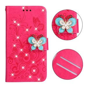 Diamond Encrusted Butterflies Love Flowers Pattern Horizontal Flip Leather Case for Galaxy J4 2018 (EU Version) , with Holder & Card Slots & Wallet & Lanyard(Butterfly plum red)
