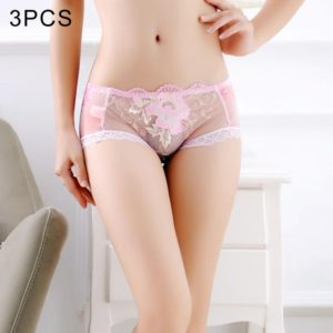 3 PCS FunAdd Women Sexy Enticing Low-waisted Transparent Underwear Hollow Lace Embroidery Triangle Panties, Size: L(Pink) (FunAdd)