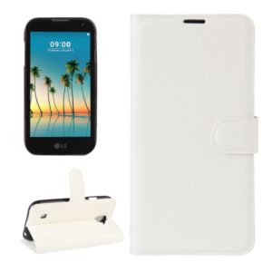 For LG K3 (2017) Litchi Texture Horizontal Flip Leather Case with Holder & Card Slots & Wallet (White)