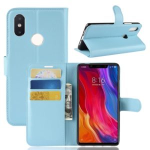 Litchi Texture Horizontal Flip Leather Case for Xiaomi Mi 8 SE, with Wallet & Holder & Card Slots (Blue)
