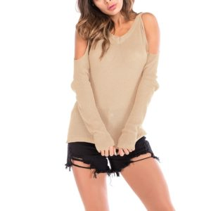 Autumn and Winter Solid Color Long-sleeved Pullover Sweater (Color:Apricot Size:M)