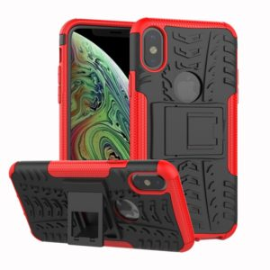 Tire Texture TPU+PC Shockproof Case for iPhone XS Max, with Holder(Red)